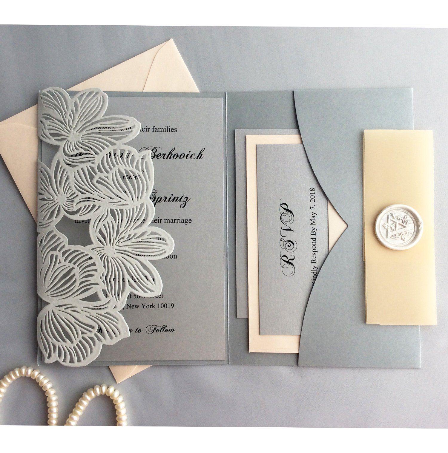 CRÈME Découpe Laser invitation avec insert et enveloppe