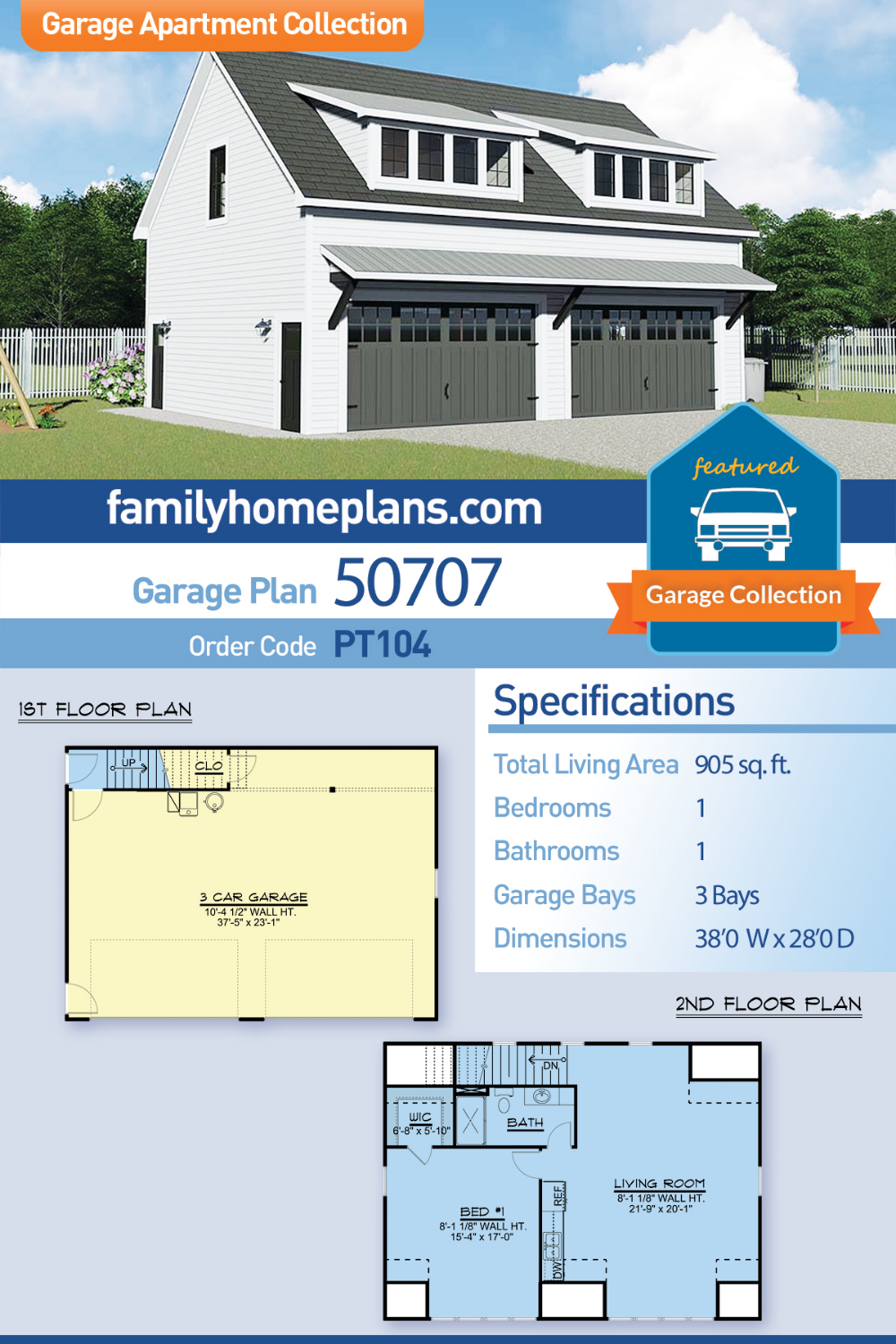 Contemporary Style 3 Car Garage Apartment Plan Number 50707 With 1 Bed 1 Bath Garage Guest House Guest House Plans Carriage House Plans