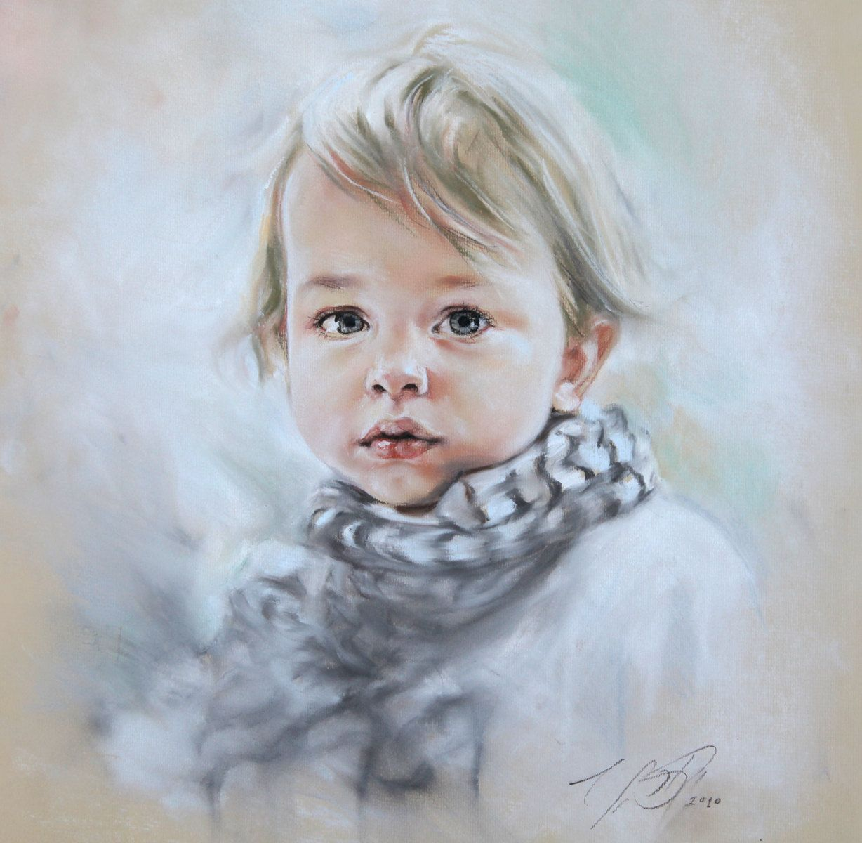 Custom Pastel Portrait Painting of Child from photography. $220.00, via Etsy.