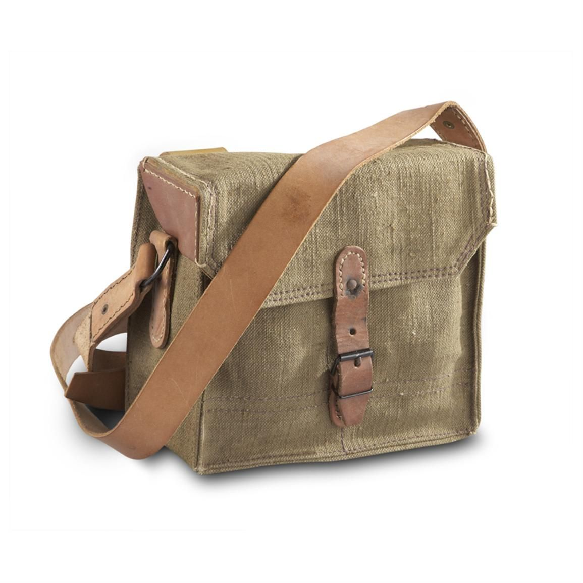 Used French Military Surplus Shoulder Bag Olive Drab 378 Cu In Capacity