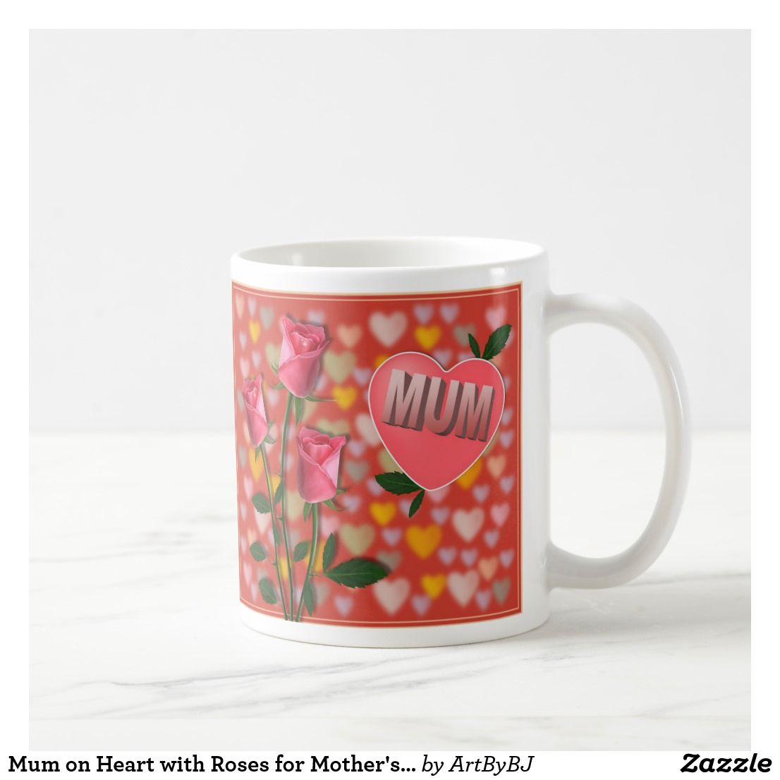 Mum With Coffee Day On For Mug Roses Heart Mother's 8P0wOkn