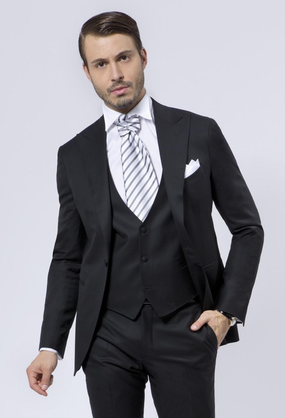 Fashion Style One Button Black Groom Tuxedos Groomsmen Mens Wedding ...