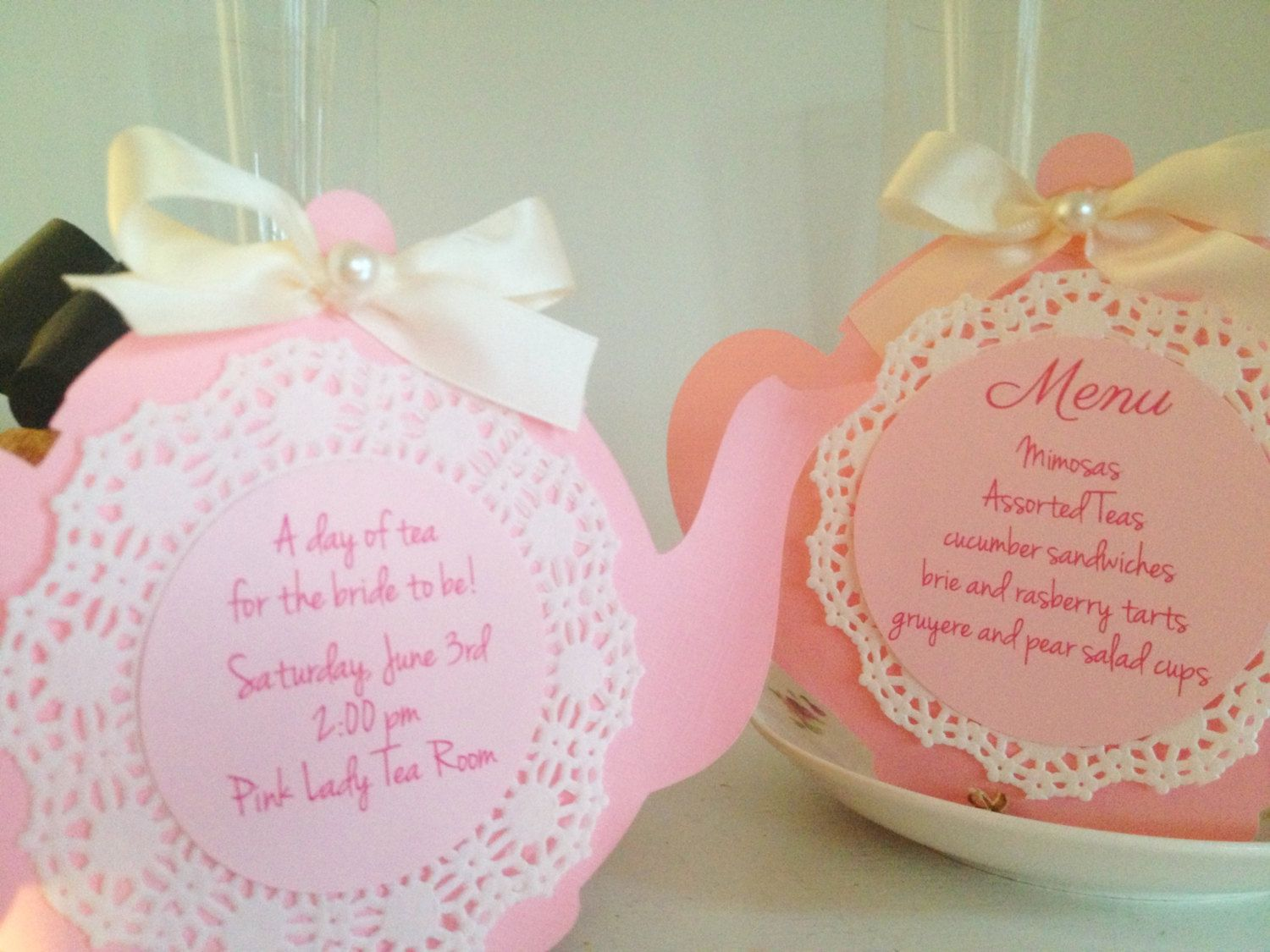 Tea pot with doiley invitation: love the ribbon and pearl   baby ...