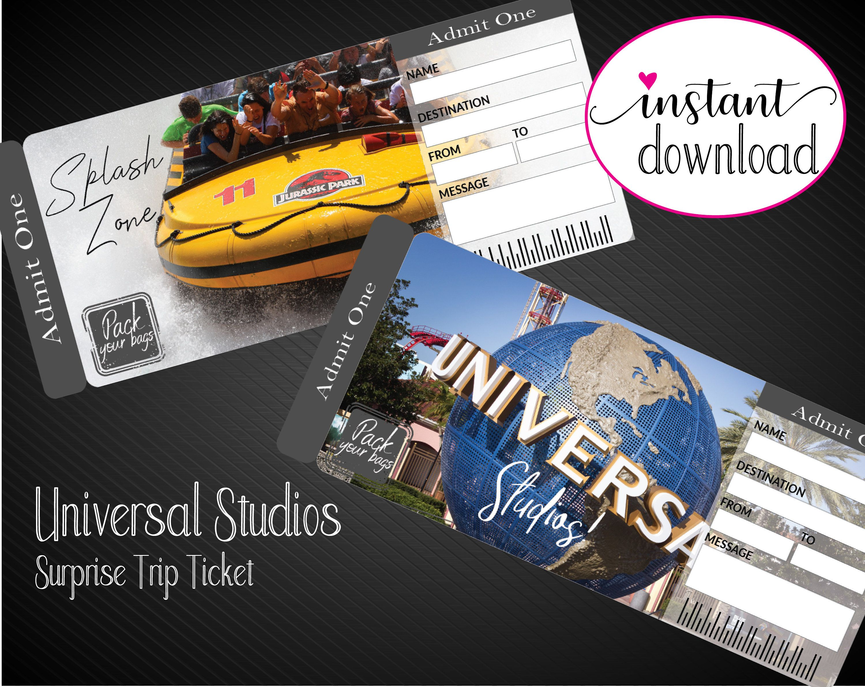 Printable Universal Studios Surprise Trip Tickets Vacation Etsy Universal Studios Universal Studios Tickets Surprise Trip Reveal