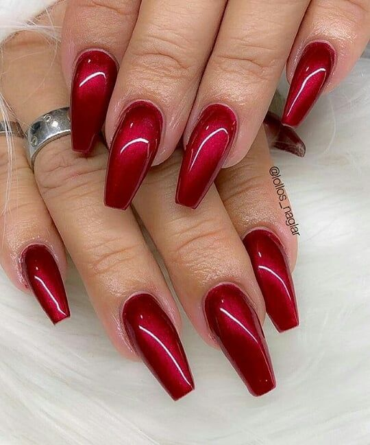 The Best Chrome Nail Ideas To Copy Red Acrylic Nails Red Chrome Nails Gold Chrome Nails