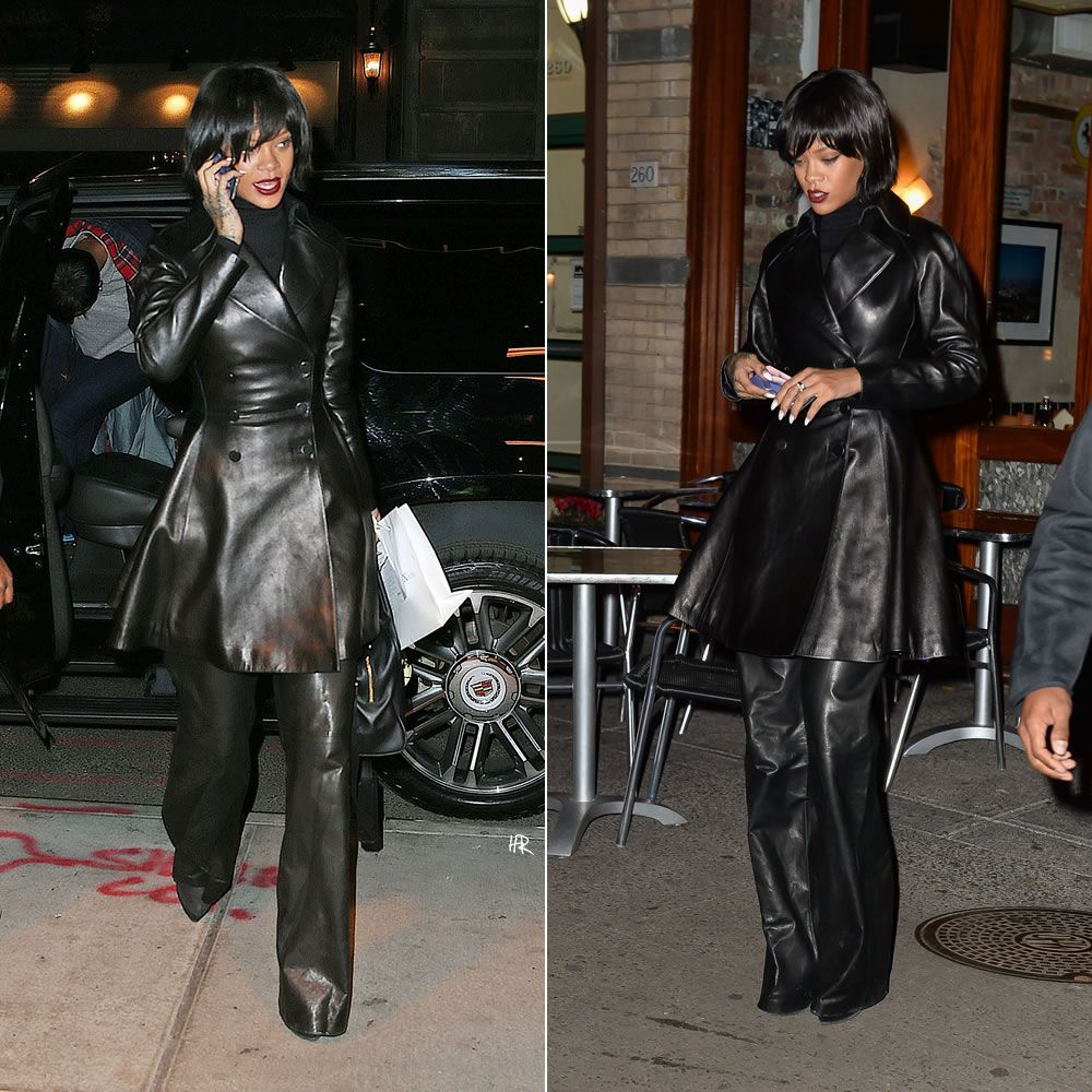 Rihanna in New York wearing Azzedine Alaia flared leather coat ...