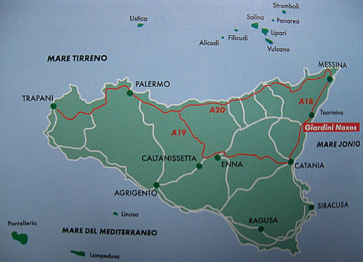 Map of Sicily with main towns of island Sicily Italy Travel in