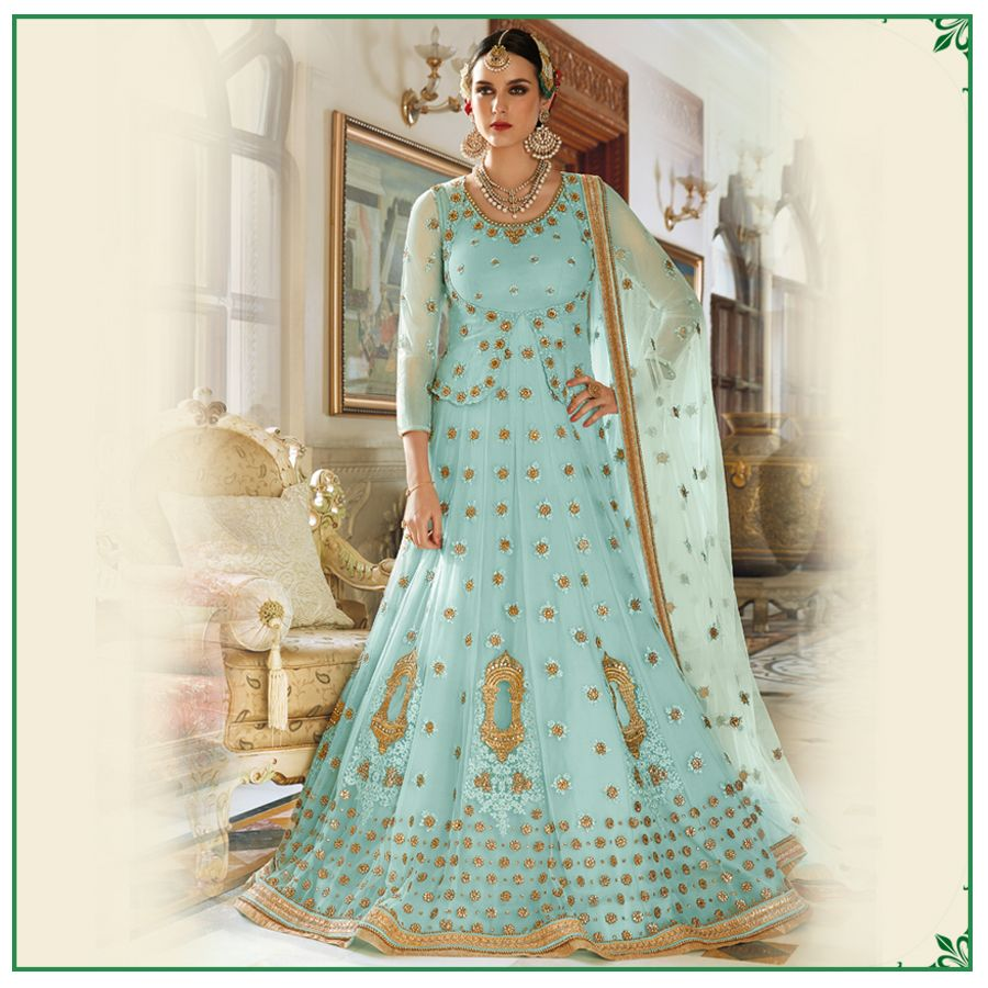 A gorgeous net anarkali in alluring light colors with zari and