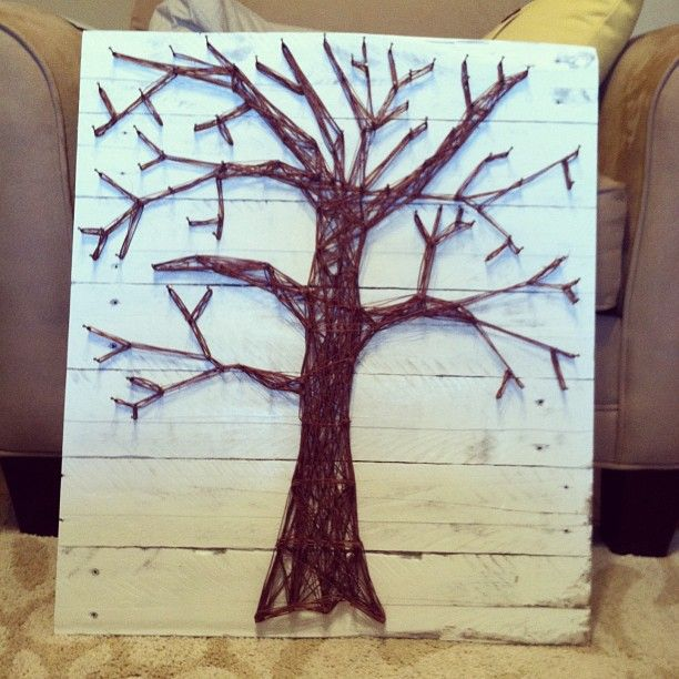 Diy nail string art tree for the home pinterest for Diy nail and string art