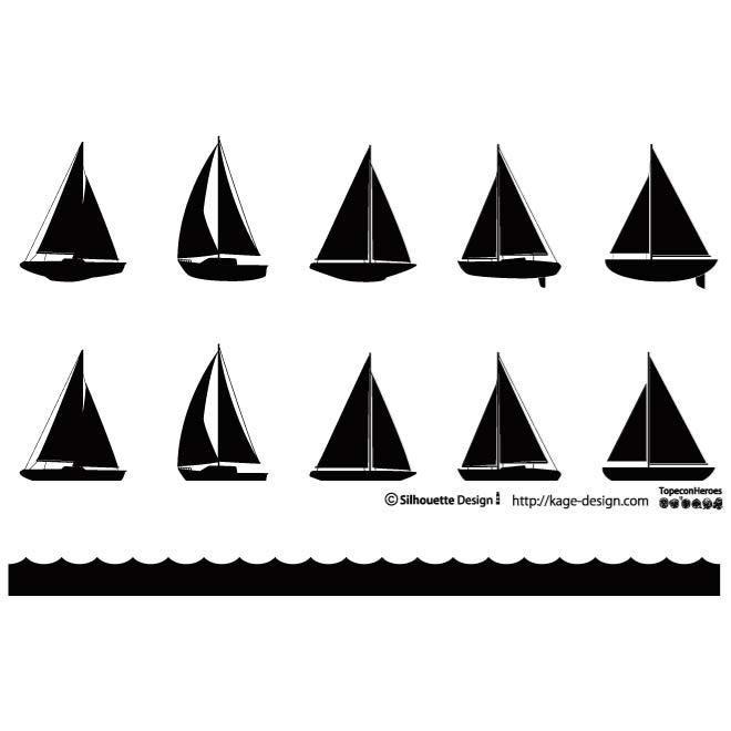 sailboat silhouettes vector pack | christmas 2014 aqua / sand