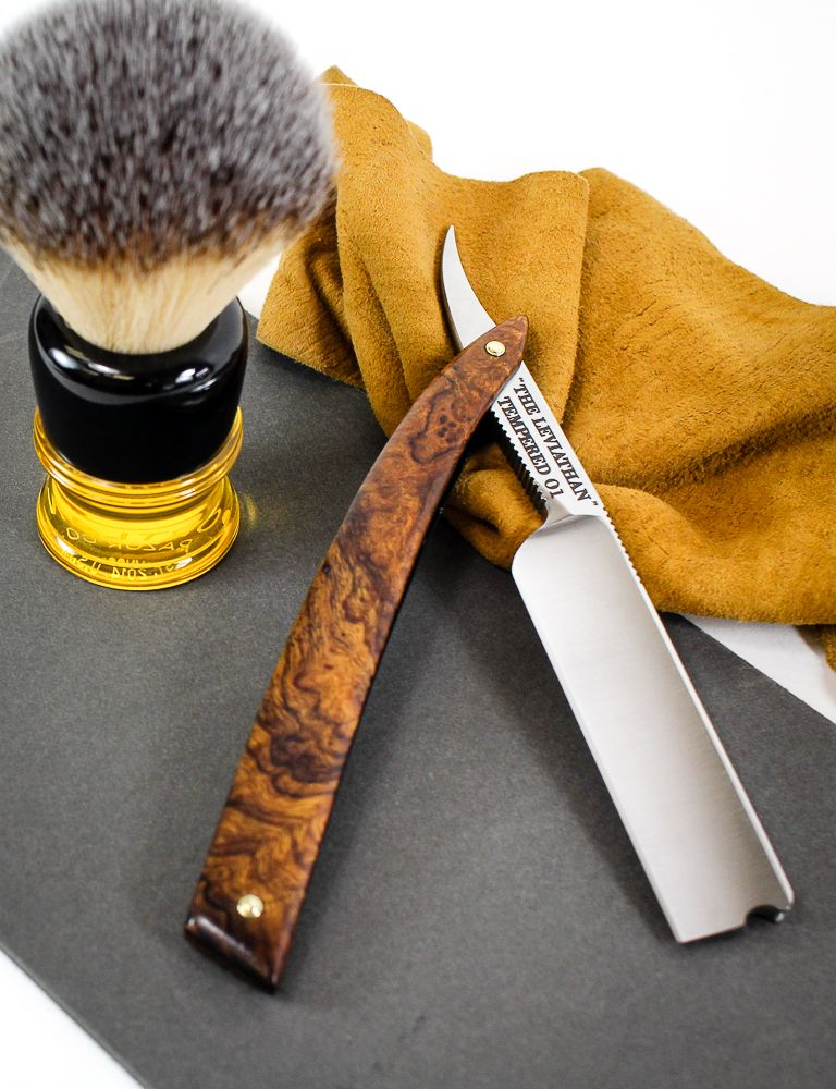 c56663ec The Leviathan 6/8 Square Point Straight Razor in Ironwood Burl Scales.  Pictured with Portland Razor Co. Executive Shave Brush.