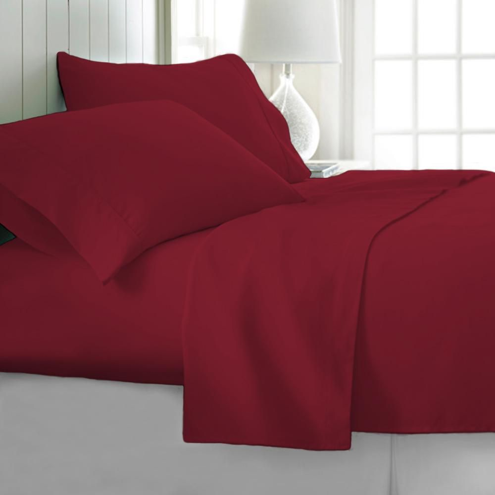 Tagco Usa 4 Piece Burgundy Solid 1800 Thread Count Microfiber Full