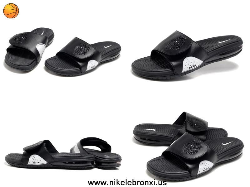 Fast Shipping To Buy black white Nike Air Lebron Slide Sandals Sale Online