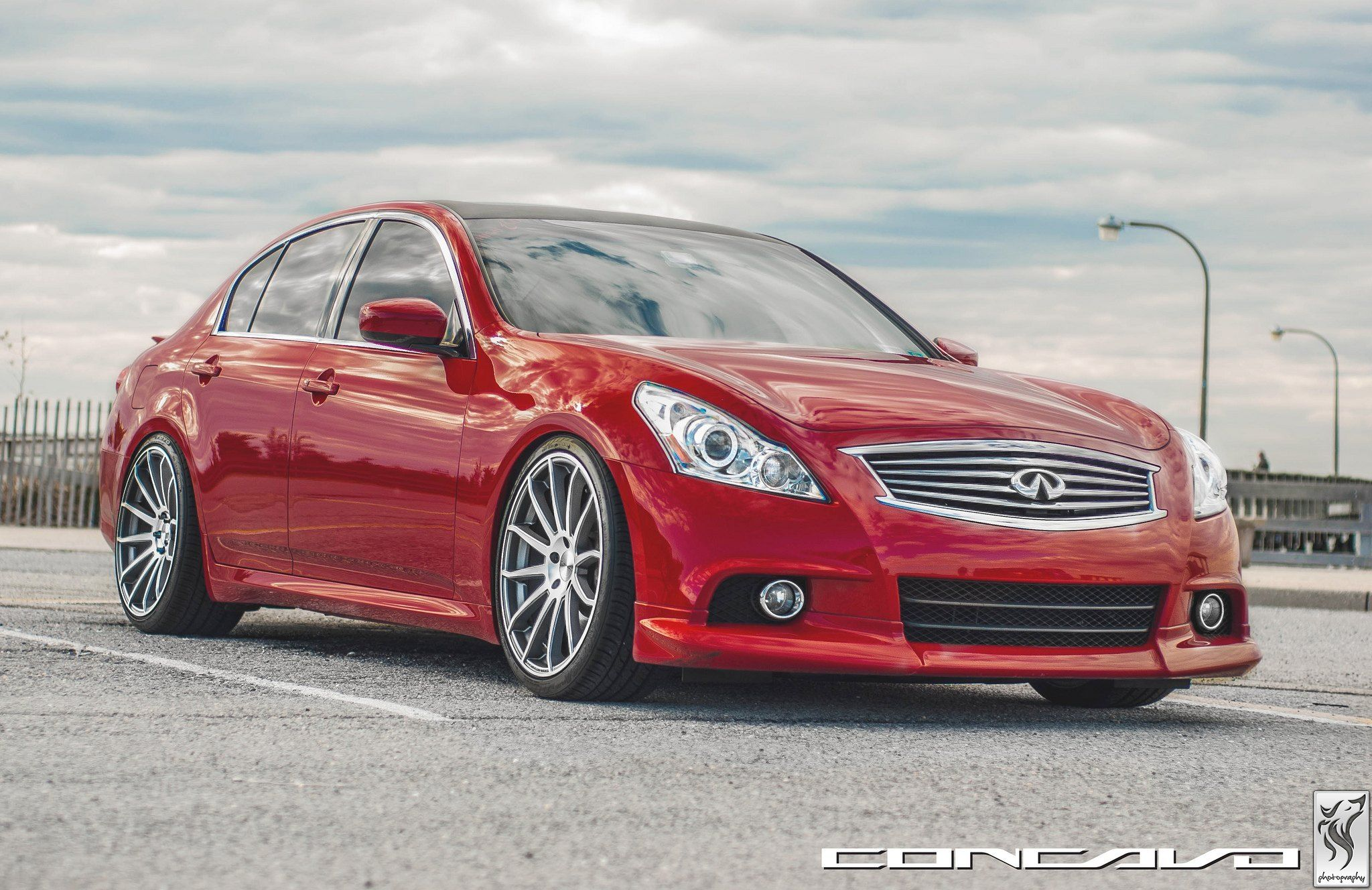 Low Stance And Vossen Rims Enrich Red Infiniti G37 Sedan G37 Sedan Infiniti G37 Sedan