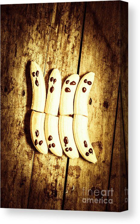 Spooky Food Canvas Print featuring the photograph Banana Ghosts Looking To Split At Halloween Party by Jorgo Photography - Wall Art Gallery