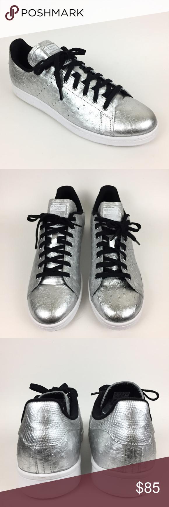 Adidas stan smith originale di formatori d'argento di argento