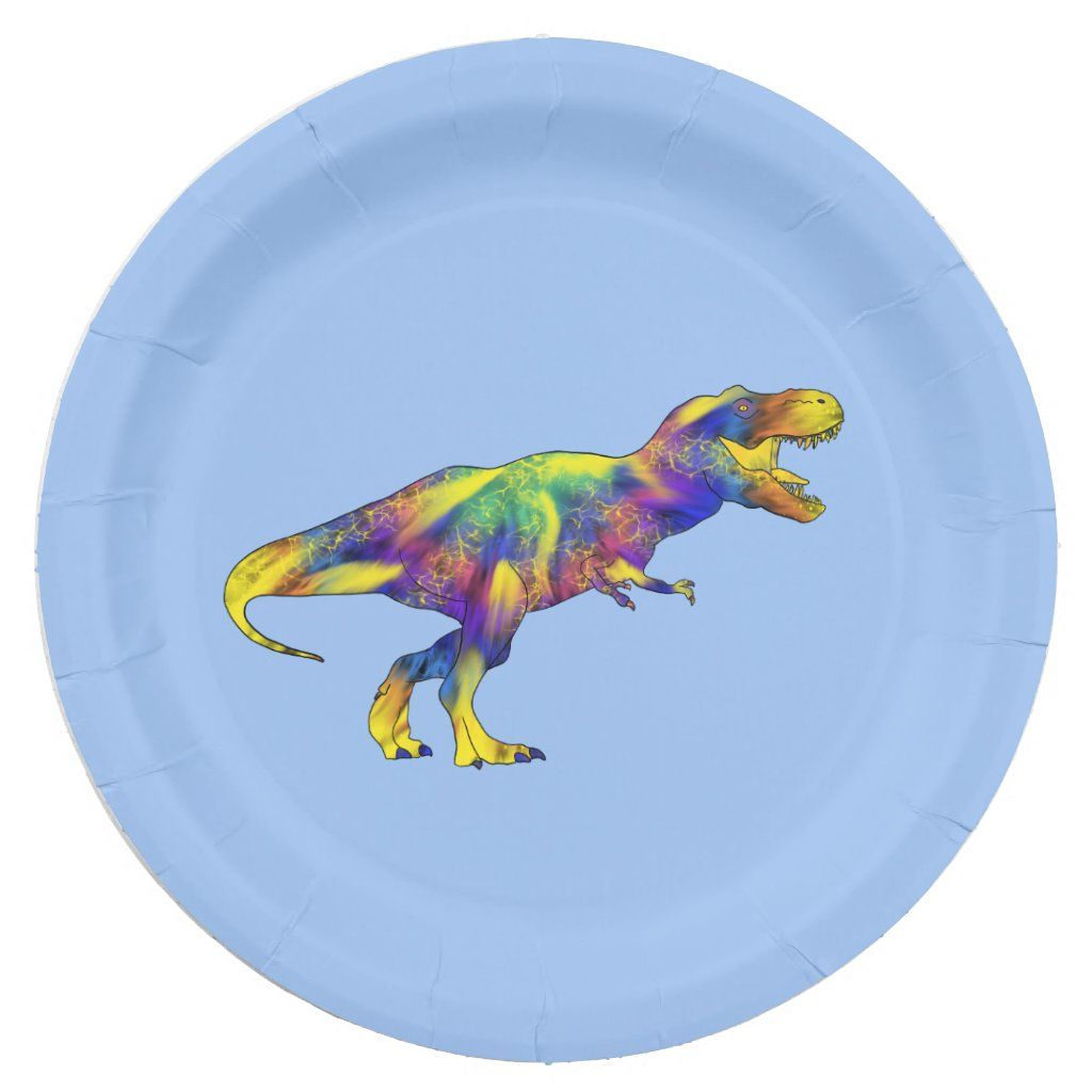 Colourful Running T Rex Psychedelic Dinosaur Art 8 paper plates