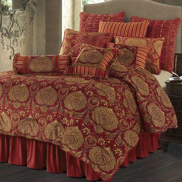 Lorenza Comforter Set Dark Red Luxury Bedding Red Bedding Bedding Sets