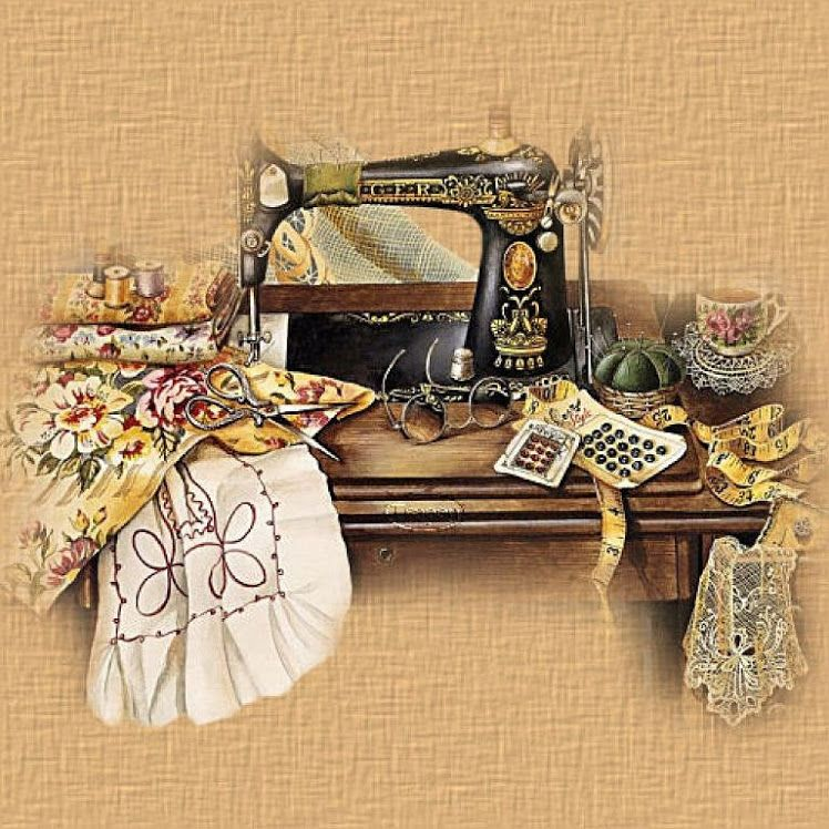 Картинки старинная швейная машинка и ножнички древняя порода