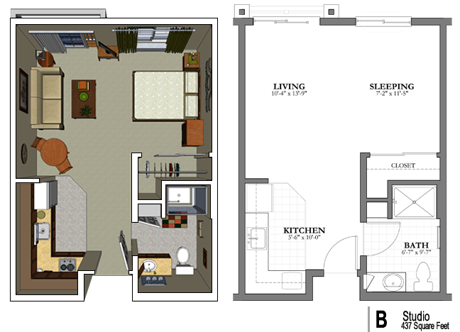 The studio apartment floor plans above is used allow the for Apartment design layout