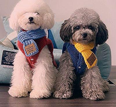 Fun Dog New Bib Wool Knitted Scarf Teddy Puppies Small Dogs Keep Warm