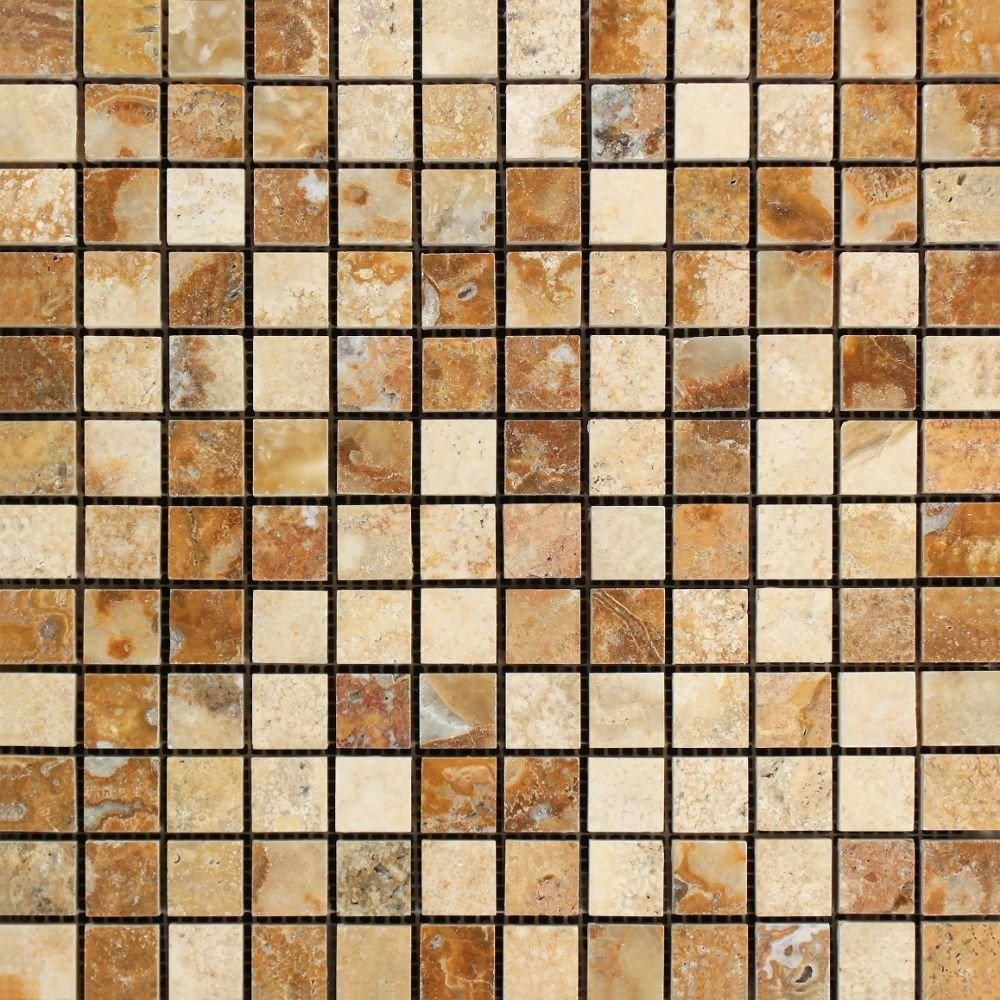 1 X 1 Scabos Travertine Polished Mosaic Tile (With images