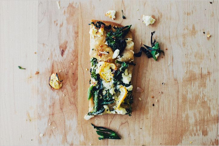 // Broccolini & Charred Lemon Flatbread