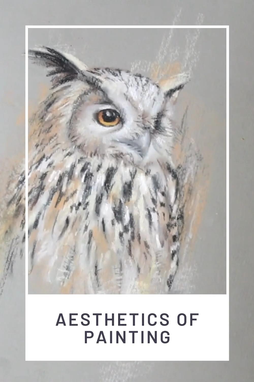Owl pastel painting