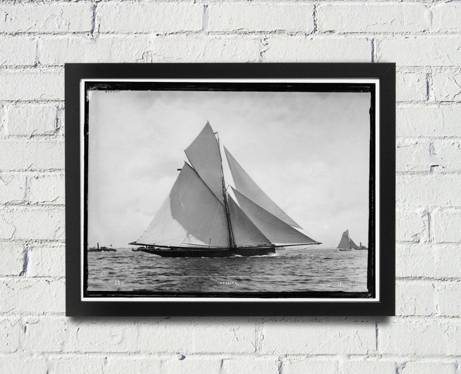 FRAMED Sailing Photography Black And White Americas Cup Vintage Framed Art,  Sailing Art, Office Art, Living Room Art, Historical Print (104)