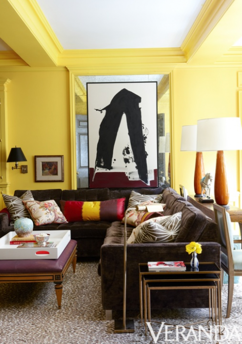 Yellow living room walls with yellow painted trim and ceiling beams ...