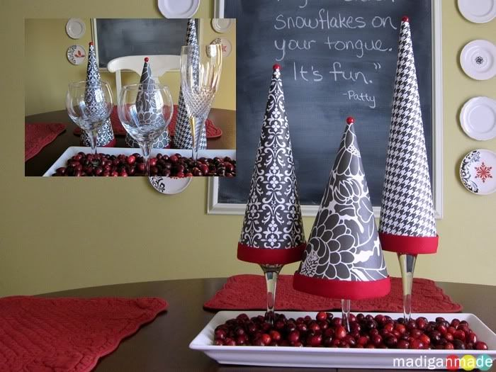 paper christmas cone on wine glass Christmas Ideas Pinterest