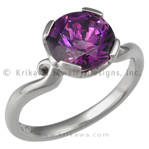Carved Mini Curls Engagement Ring with Amethyst - The Carved Mini Curls Engagement Ring is similar to the Carved Mini Curls Wedding Band, except for a the larger stone mounting. 2mm wide. - This artistic ring has an amethyst.