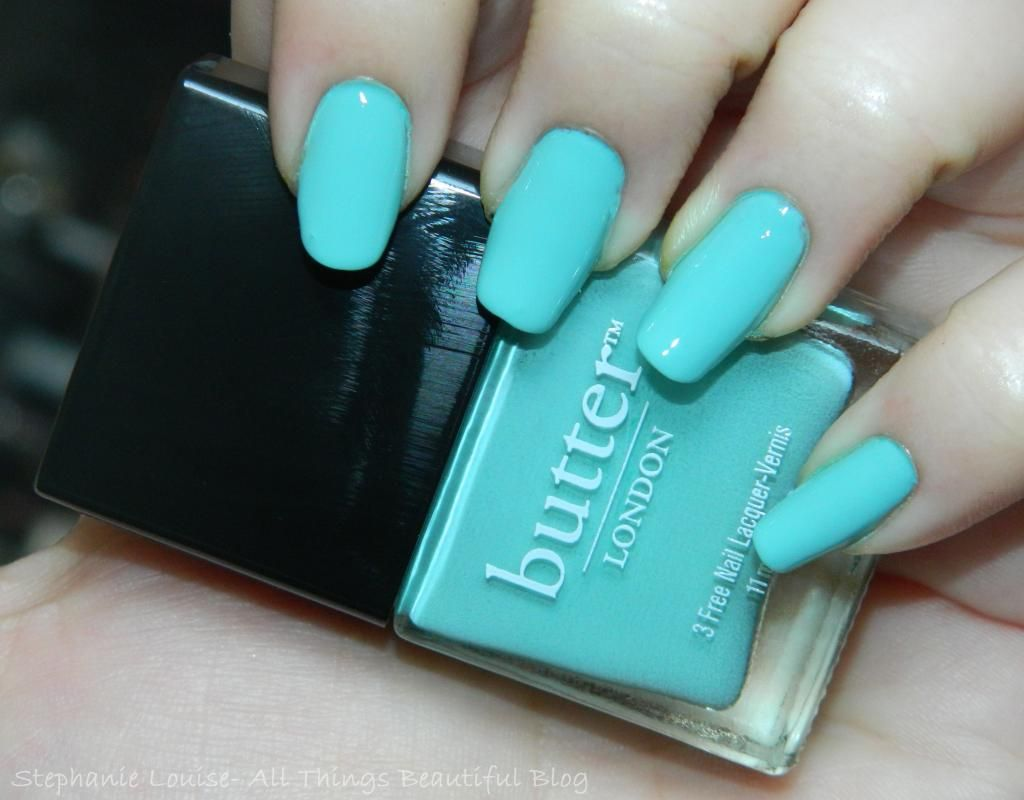 Butter London Nail Polish in Poole Swatches & Review http://stephanielouiseatb.blogspot.com/2013/08/butter-london-nail-polish-in-poole.html  #nails #tiffany #Blue #butterlondon #nailpolish