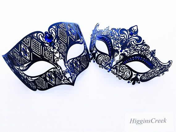 260f93186b9f Navy Blue Couples Masquerade Mask Set, Black Venetian Couples ...