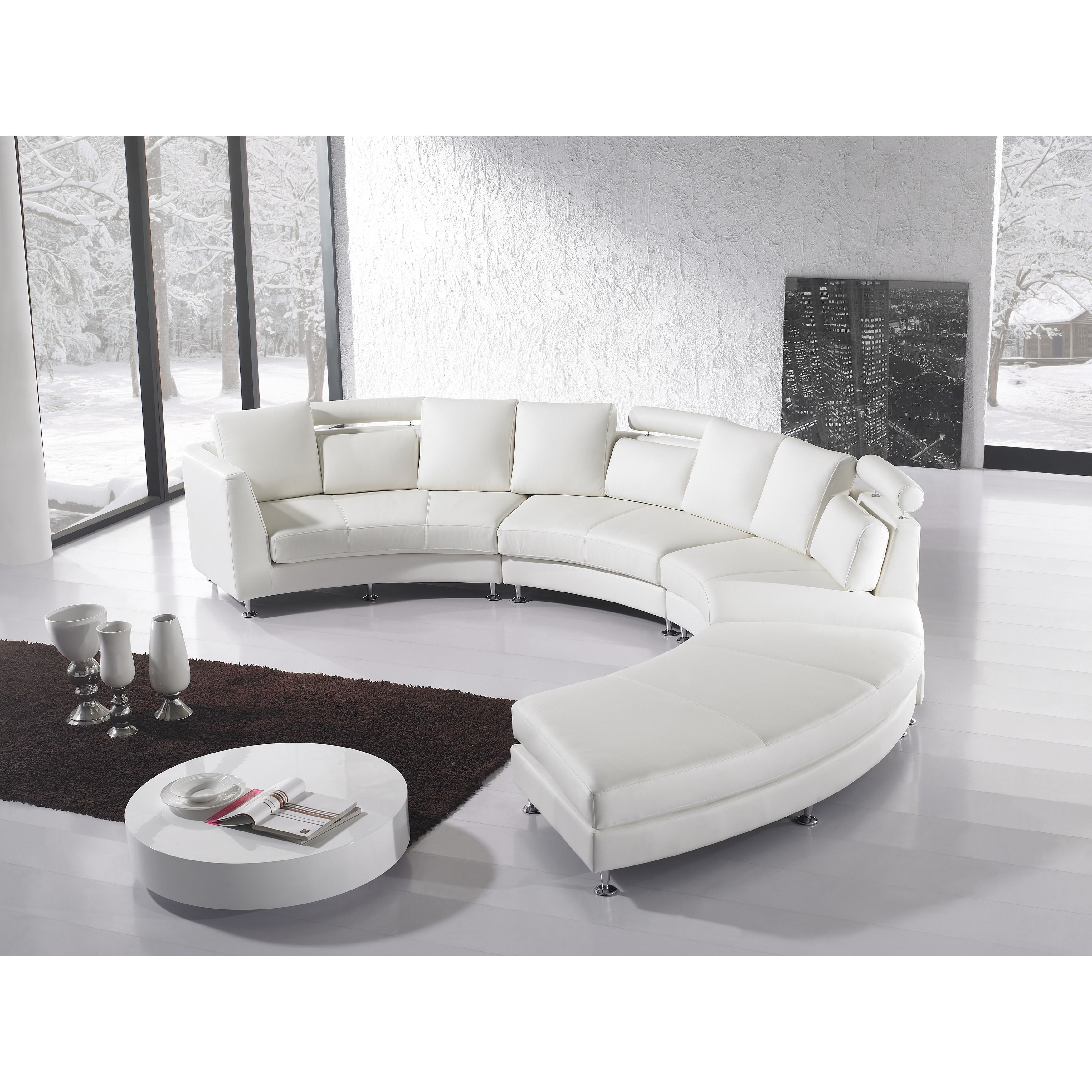 Velago Rossini White Modern Design Round Leather Sectional Rotunde Ivory