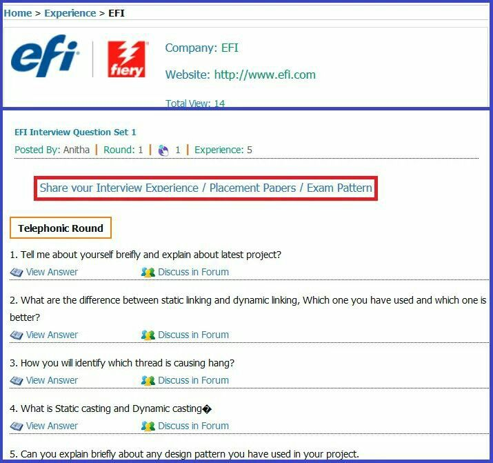 EFI (Electronics of Image) Telephonic Round Interview Questions ...