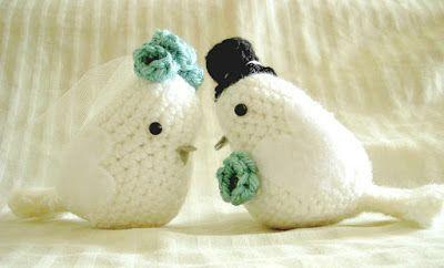 Uncinetto e crochet: Bomboniere all'uncinetto: piccioncini innamorati