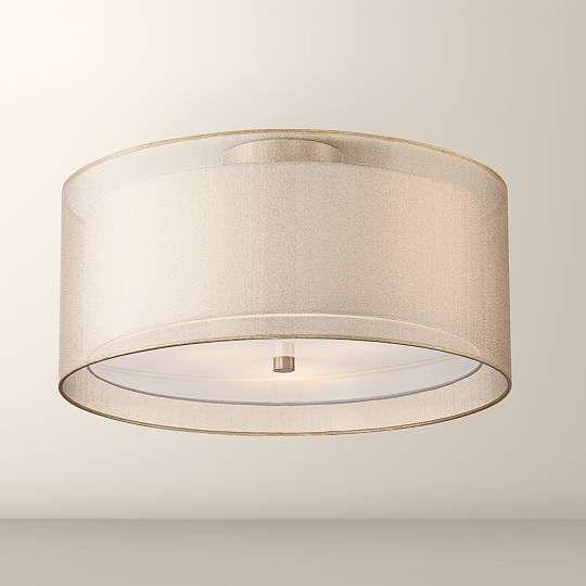 Possini Euro Double Drum Champagne Ceiling Light - #EU1F072 - Euro Style Lighting