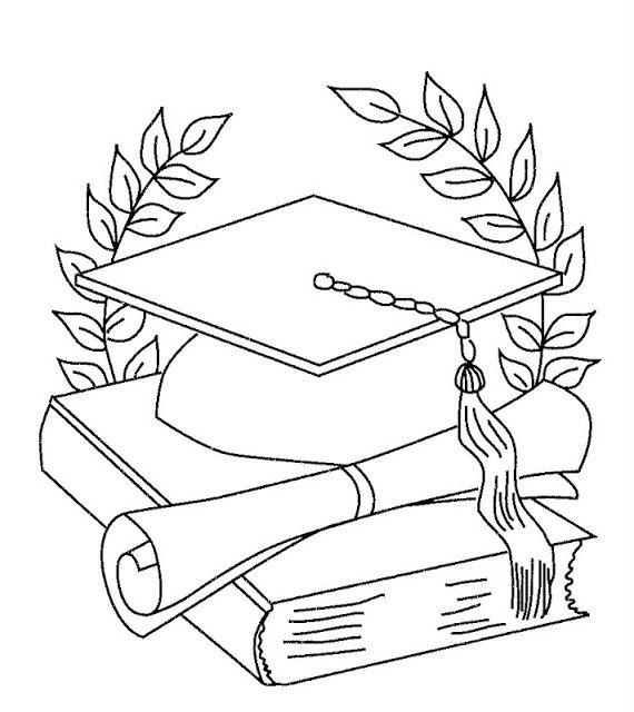 Dibujo De Birrete Y Diploma Para Colorear
