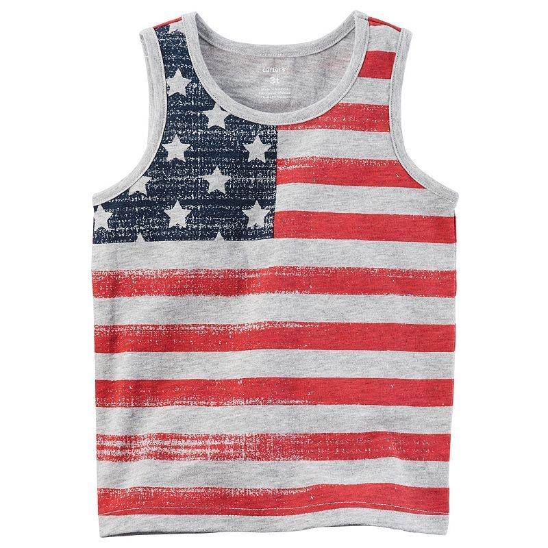 UNDER ARMOUR Boys Sz 4 Tank Top Shorts Set Outfit Patriotic American Flag July 4