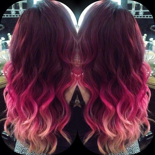 Burgundy to pink ombre dip dye mermaid indian remy clip in hair extensions tc1046 red - Ombre hair marron ...
