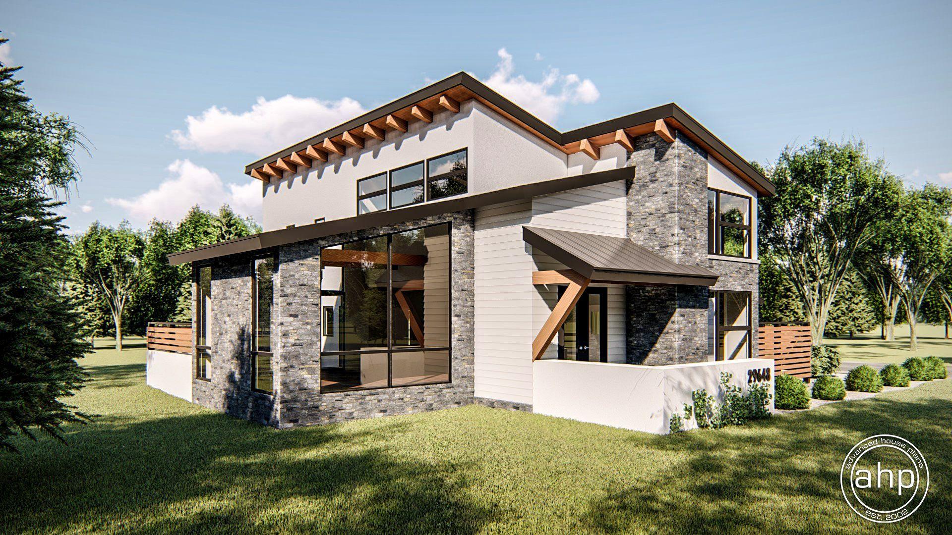 Regency 1.5 Story Modern House Plan | Modern house plan ...