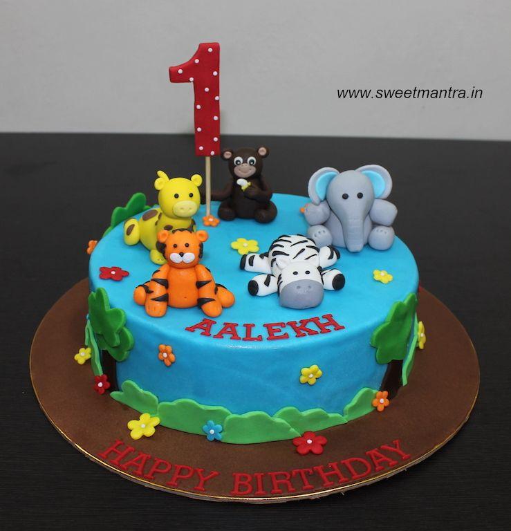 Animals Theme Small Customized Designer Fondant Cake For Boy S 1st Birthday At Pune Cake Designs For Boy Cake Cartoon Birthday Cake