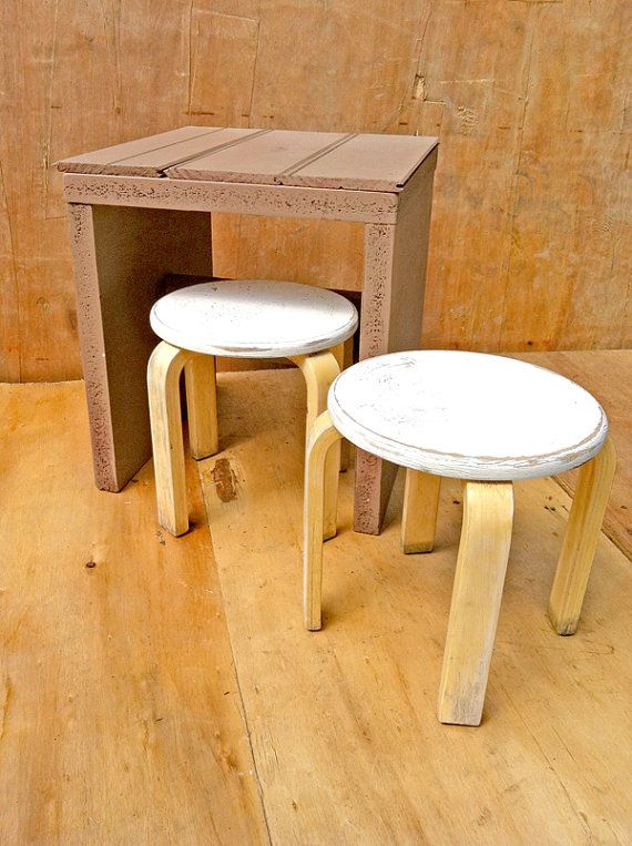 Pair Bed Stools: Childrens Wooden Furniture Set, Wooden Table And Two