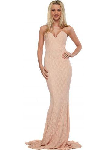 Portia & Scarlett Gabriella Blush Lace Evening Dress With Bustier ...