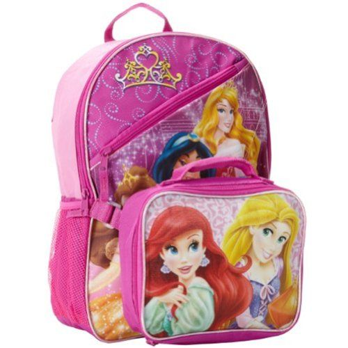 Disney Princess Backpack With Attached Lunch Bag Set ...