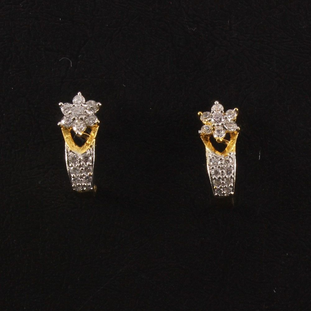 Classic Designer Earring With CZ White Stone Studded - Rhodium ...