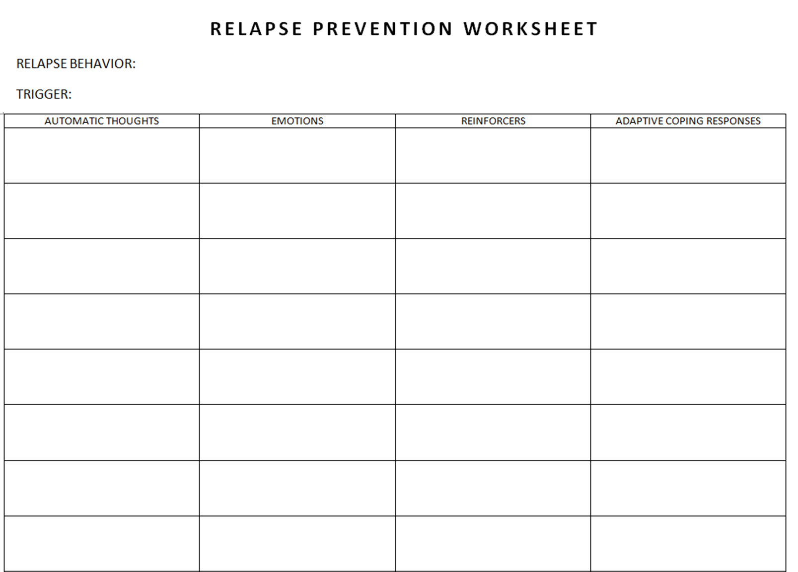 Relapse Prevention Worksheet – Relapse Prevention Worksheets