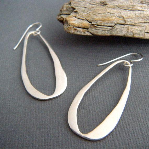 e55835d25 Sterling silver organic teardrop earrings. 1 1/2 hoop - A solid sterling  silver flat oval, length 1 1/2 (3.7 cm), width just under 3/4 (17 mm)  across.