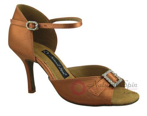 Natural Spin Signature Latin Shoes(Open Toe, Adjustable):  H1112-07a_DrTanS
